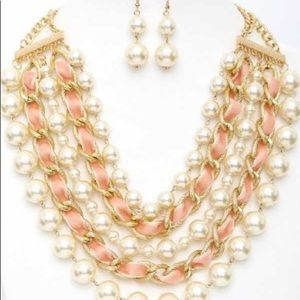 Velvet Ribbon and Pearl Layered Necklace Set